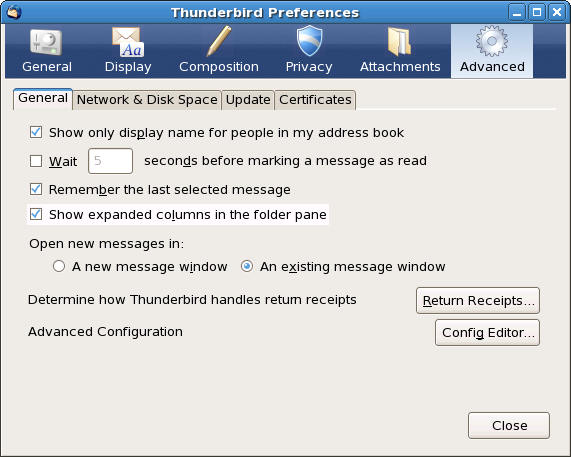 Thunderbird Preferences